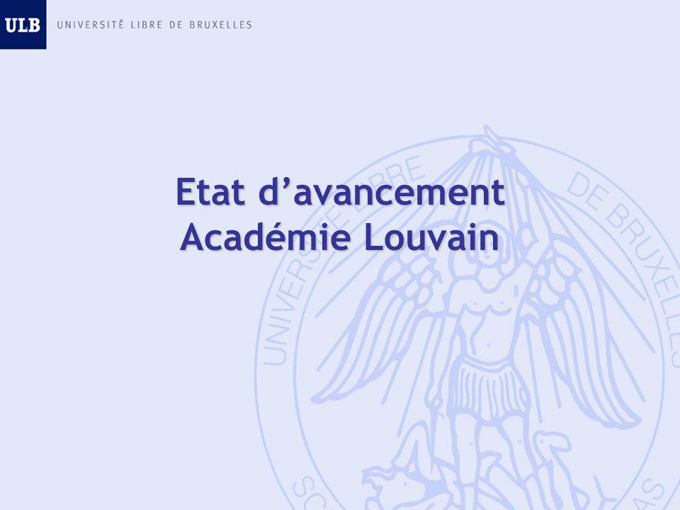 Etat davancement Académie Louvain