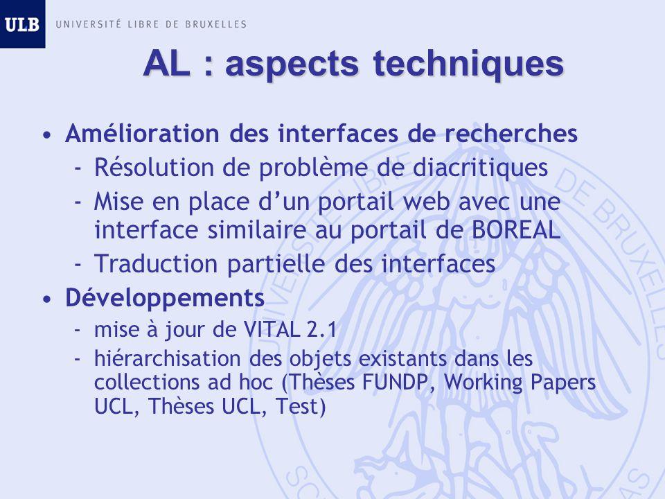 AL : aspects techniques Amélioration des interfaces de recherches -Résolution de problème de diacritiques -Mise en place dun portail web avec une inte