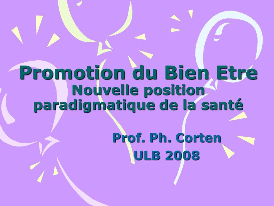 Promotion du Bien Etre Nouvelle position paradigmatique de la santé Paradigme : « Modèle de pensée qui oriente la recherche, la réflexion et la pratique » « Modèle de référence » (Le verbe « Aimer » est le verbe paradigmatique de la conjugaison des verbes en « er »)