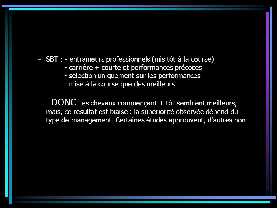 –SBT : - entraîneurs professionnels (mis tôt à la course) - carrière + courte et performances précoces - sélection uniquement sur les performances - m