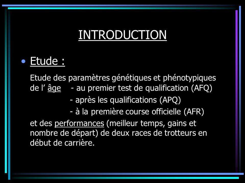 INTRODUCTION Etude : Etude des paramètres génétiques et phénotypiques de l âge - au premier test de qualification (AFQ) - après les qualifications (AP
