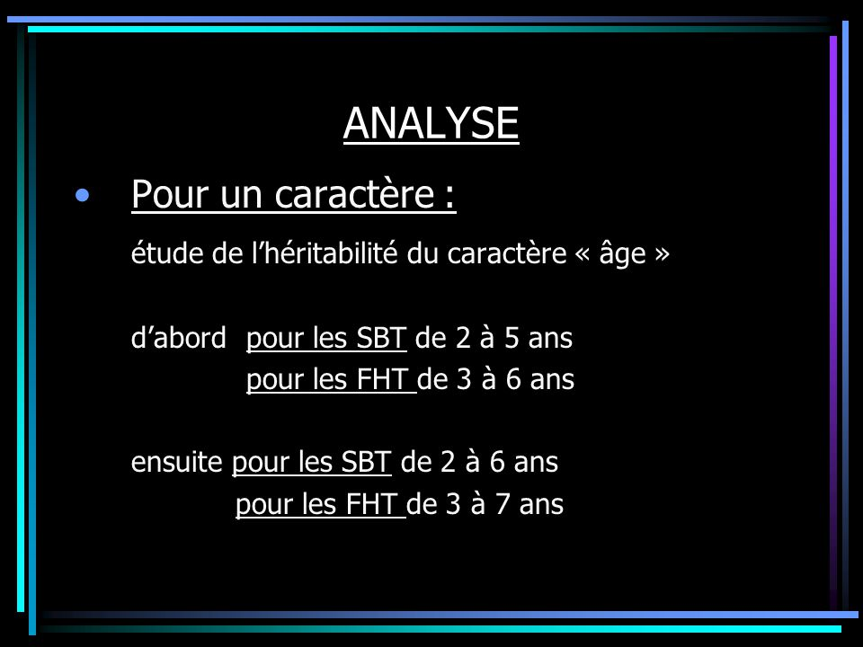 ANALYSE Pour un caractère : étude de lhéritabilité du caractère « âge » dabordpour les SBT de 2 à 5 ans pour les FHT de 3 à 6 ans ensuite pour les SBT