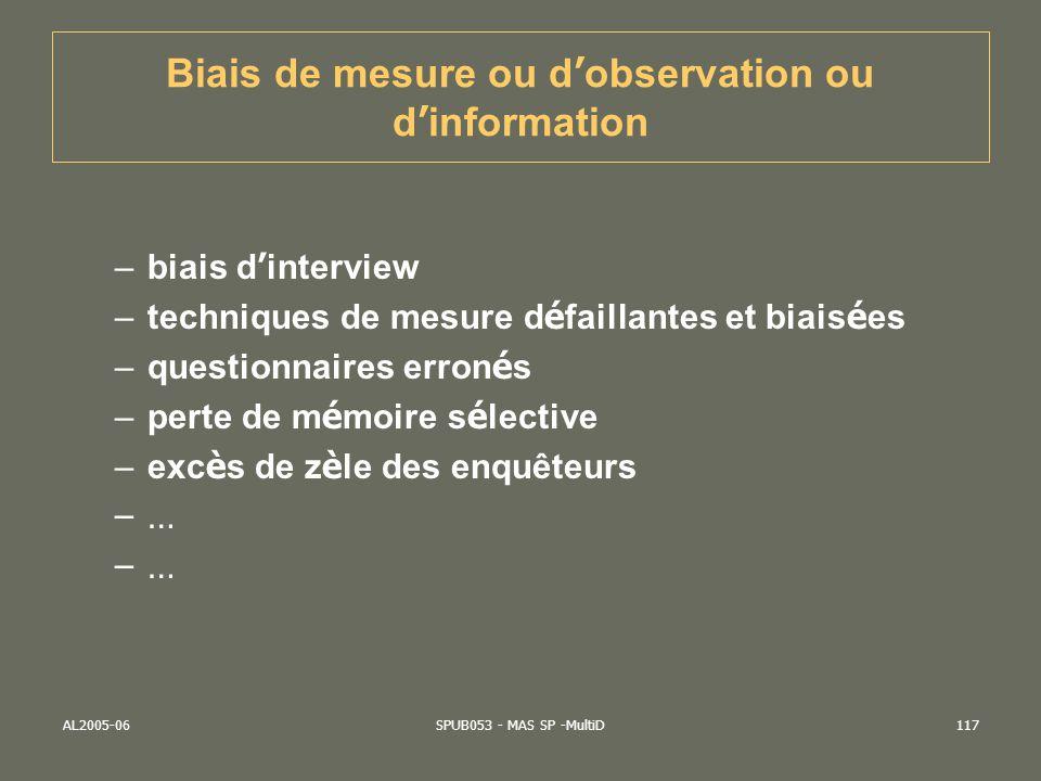 AL2005-06SPUB053 - MAS SP -MultiD117 Biais de mesure ou d observation ou d information –biais d interview –techniques de mesure d é faillantes et biai