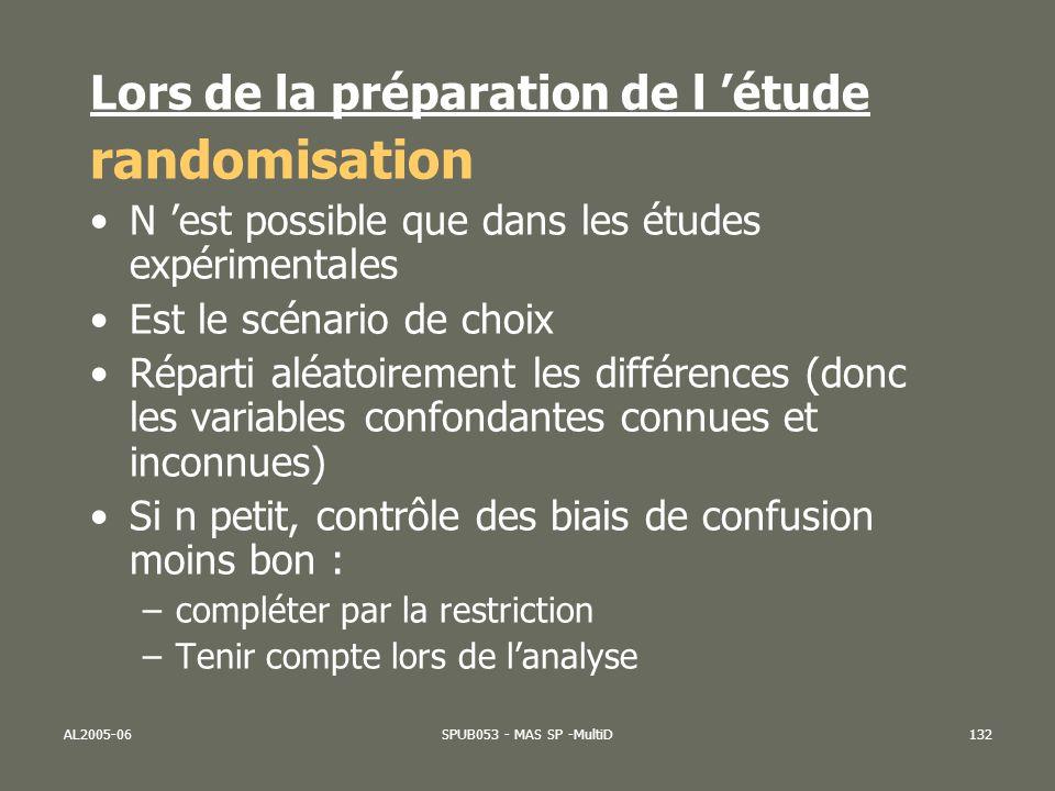 AL2005-06SPUB053 - MAS SP -MultiD132 Lors de la préparation de l étude randomisation N est possible que dans les études expérimentales Est le scénario