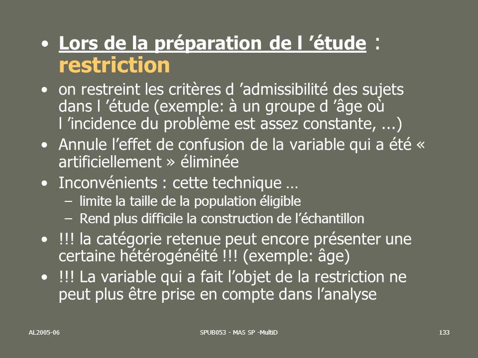 AL2005-06SPUB053 - MAS SP -MultiD133 Lors de la préparation de l étude : restriction on restreint les critères d admissibilité des sujets dans l étude