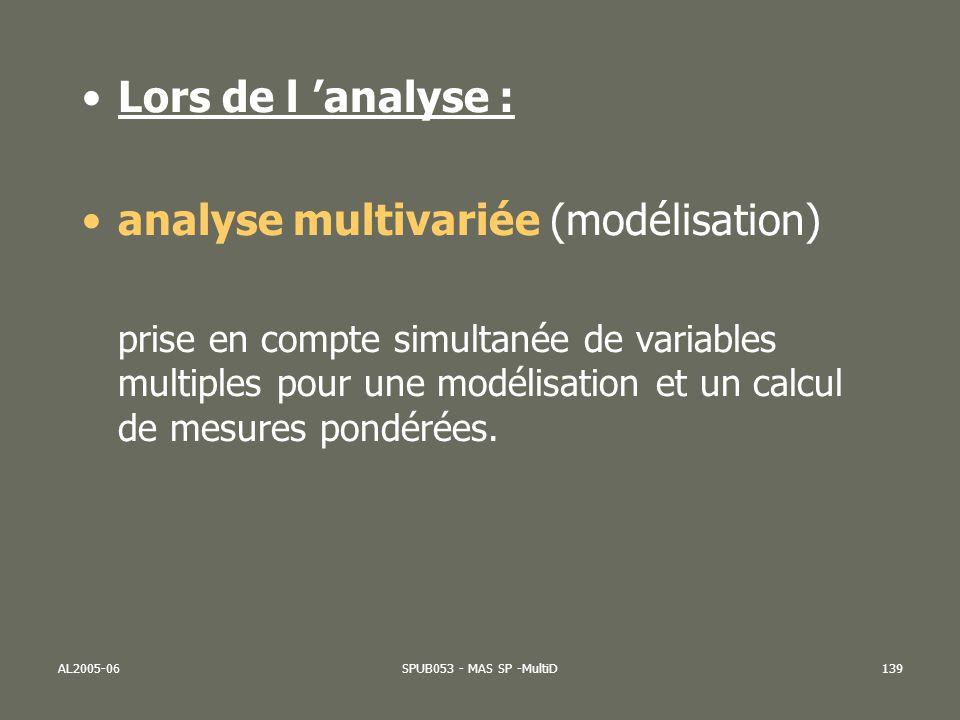 AL2005-06SPUB053 - MAS SP -MultiD140 Analyse multivariée : prendre en compte plus de deux facteurs Si lon doit prendre en compte un troisième facteur X3 (puis X4, X5, X6,…)… Age de la mèrePoids naiss.