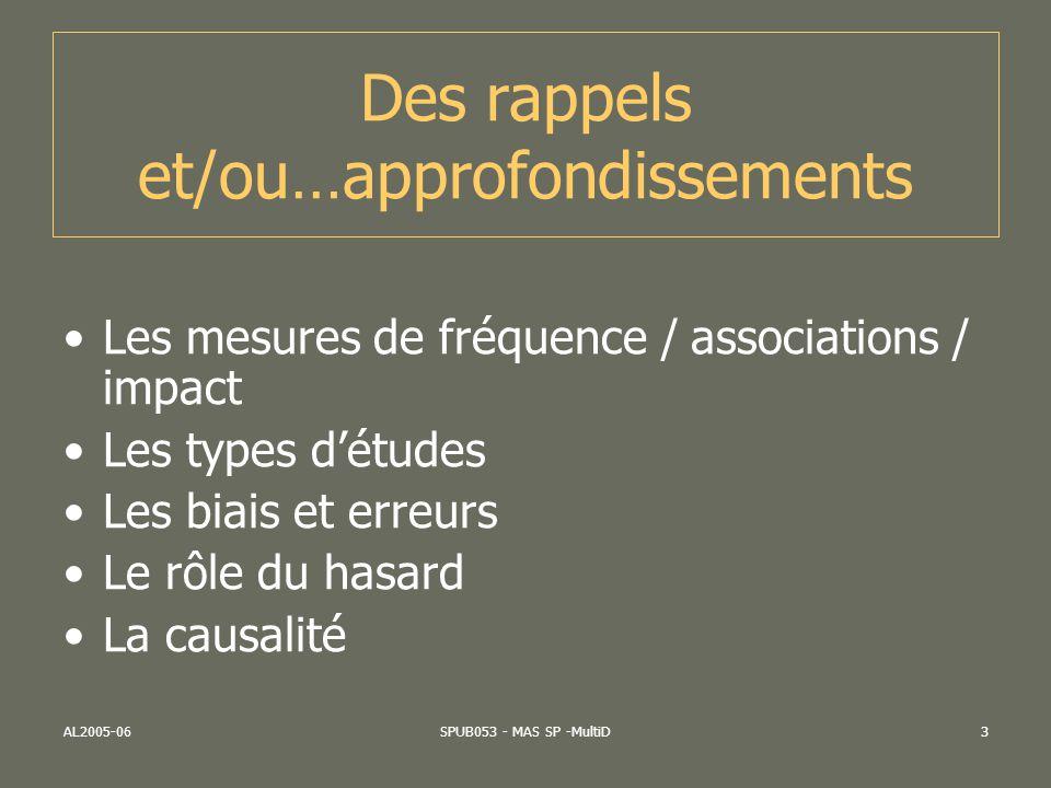 AL2005-06SPUB053 - MAS SP -MultiD3 Des rappels et/ou…approfondissements Les mesures de fréquence / associations / impact Les types détudes Les biais e