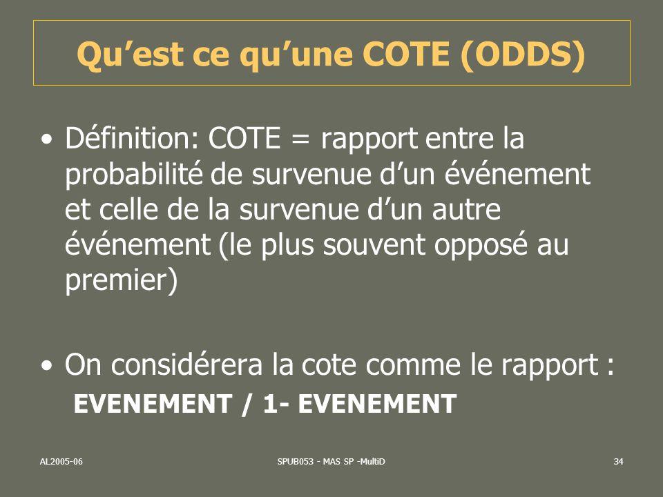 AL2005-06SPUB053 - MAS SP -MultiD34 Quest ce quune COTE (ODDS) Définition: COTE = rapport entre la probabilité de survenue dun événement et celle de l