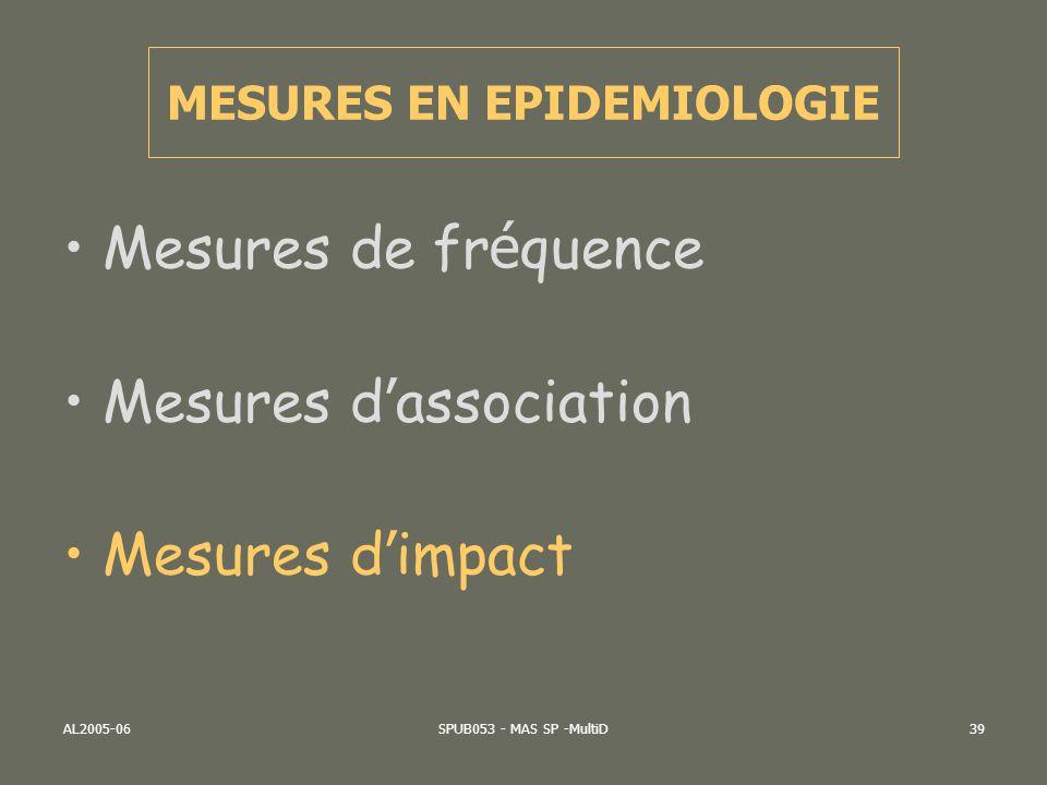 AL2005-06SPUB053 - MAS SP -MultiD39 Mesures de fr é quence Mesures d association Mesures d impact MESURES EN EPIDEMIOLOGIE