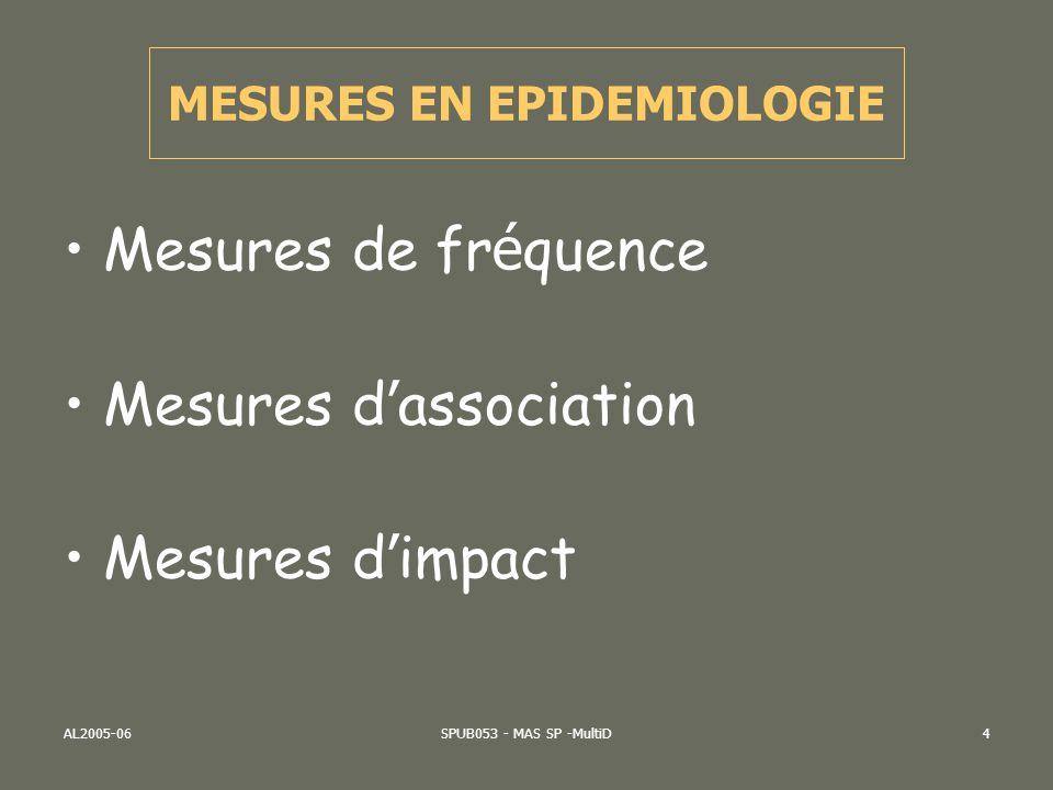 AL2005-06SPUB053 - MAS SP -MultiD4 Mesures de fr é quence Mesures d association Mesures d impact MESURES EN EPIDEMIOLOGIE