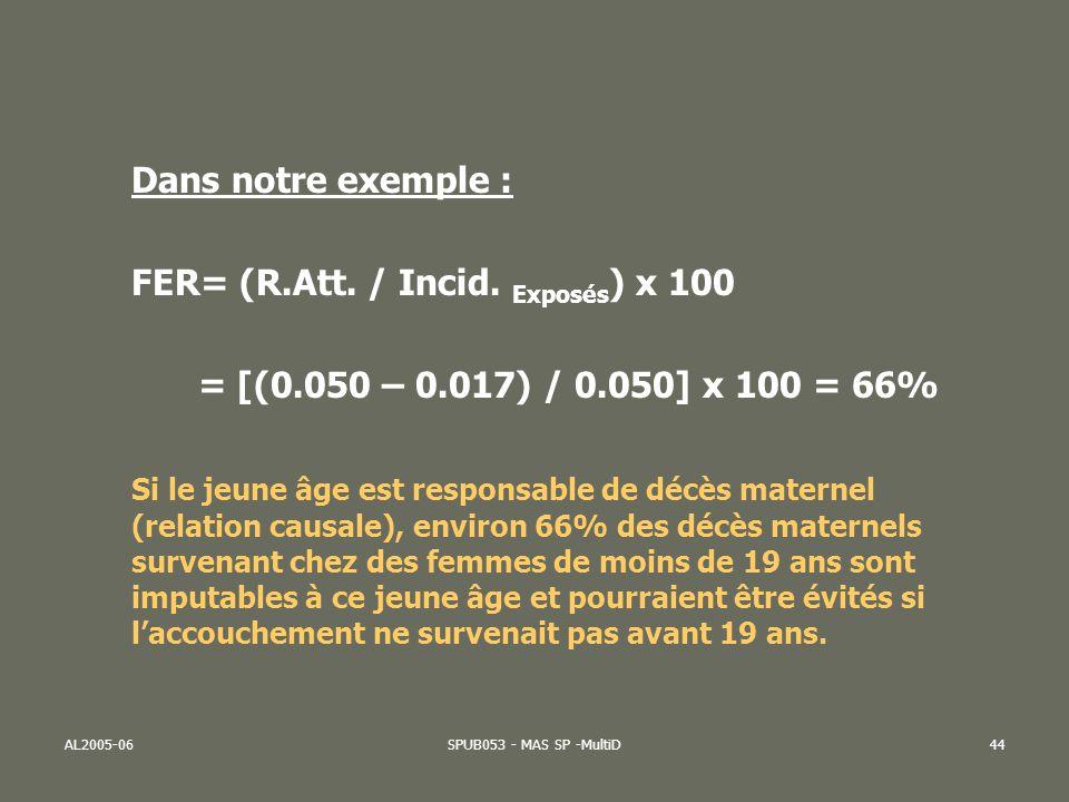 AL2005-06SPUB053 - MAS SP -MultiD45 Risque attribuable dune population (RAP) Cest lexcès de cas de « maladie » imputable à lexposition, au niveau de lensemble de la population étudiée (exposés et non exposés) = Risque Attribuable à une Population (RAP) (sous-entendu quil y a une relation causale entre FR et ISSUE) Deux modalités de calculs: 1) RAP = Incidence totale – Incidence non exposés Notre exemple = 0.025 – 0.017 = 0.008 = 8 pour mille 2) RAP = R Att x prévalence du FR Notre exemple = 0.033 x (14.000/60.000) = 7.7 pour mille