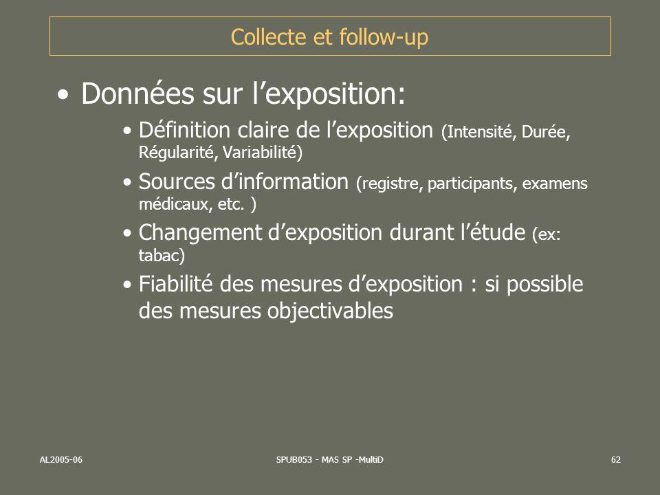 AL2005-06SPUB053 - MAS SP -MultiD62 Collecte et follow-up Données sur lexposition: Définition claire de lexposition (Intensité, Durée, Régularité, Var