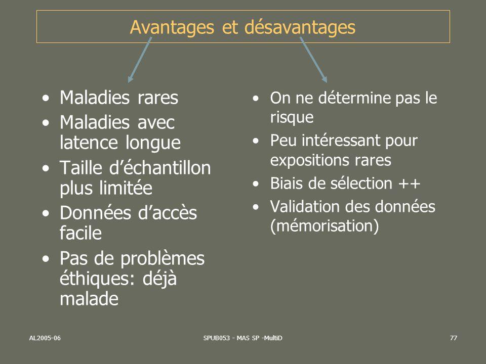 AL2005-06SPUB053 - MAS SP -MultiD77 Avantages et désavantages Maladies rares Maladies avec latence longue Taille déchantillon plus limitée Données dac
