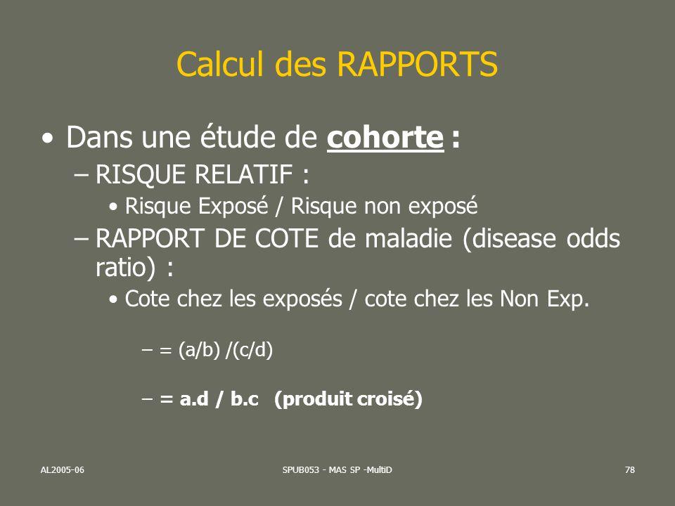 AL2005-06SPUB053 - MAS SP -MultiD78 Calcul des RAPPORTS Dans une étude de cohorte : –RISQUE RELATIF : Risque Exposé / Risque non exposé –RAPPORT DE CO