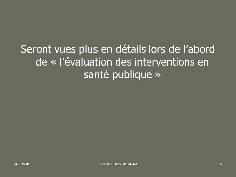AL2005-06SPUB053 - MAS SP -MultiD85 Seront vues plus en détails lors de labord de « lévaluation des interventions en santé publique »