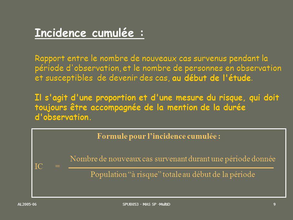 AL2005-06SPUB053 - MAS SP -MultiD10 Formule pour la densité dincidence : Nombre de nouveaux cas survenant durant une période donnée DI = Total des « personnes-années » exposées pendant la période Densité d incidence : Taux qui mesure la vitesse de propagation d une maladie ou d un phénomène de santé.