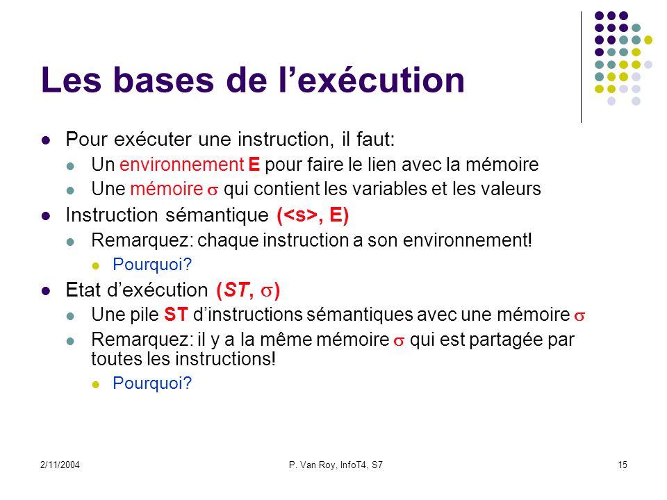 2/11/2004P. Van Roy, InfoT4, S715 Les bases de lexécution Pour exécuter une instruction, il faut: Un environnement E pour faire le lien avec la mémoir