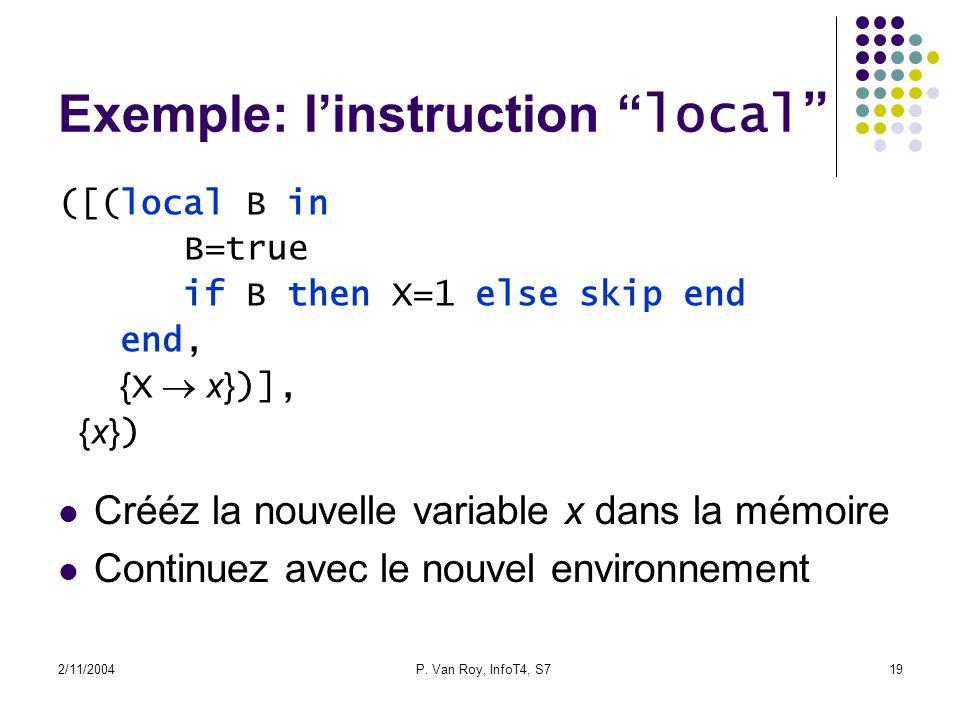 2/11/2004P. Van Roy, InfoT4, S719 Exemple: linstruction local ([(local B in B=true if B then X=1 else skip end end, { X x} )], {x} ) Crééz la nouvelle