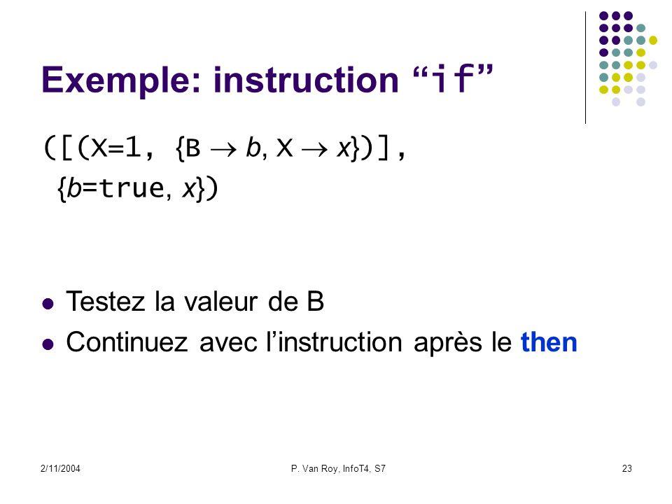 2/11/2004P. Van Roy, InfoT4, S723 Exemple: instruction if ([(X=1, { B b, X x} )], {b= true, x} ) Testez la valeur de B Continuez avec linstruction apr