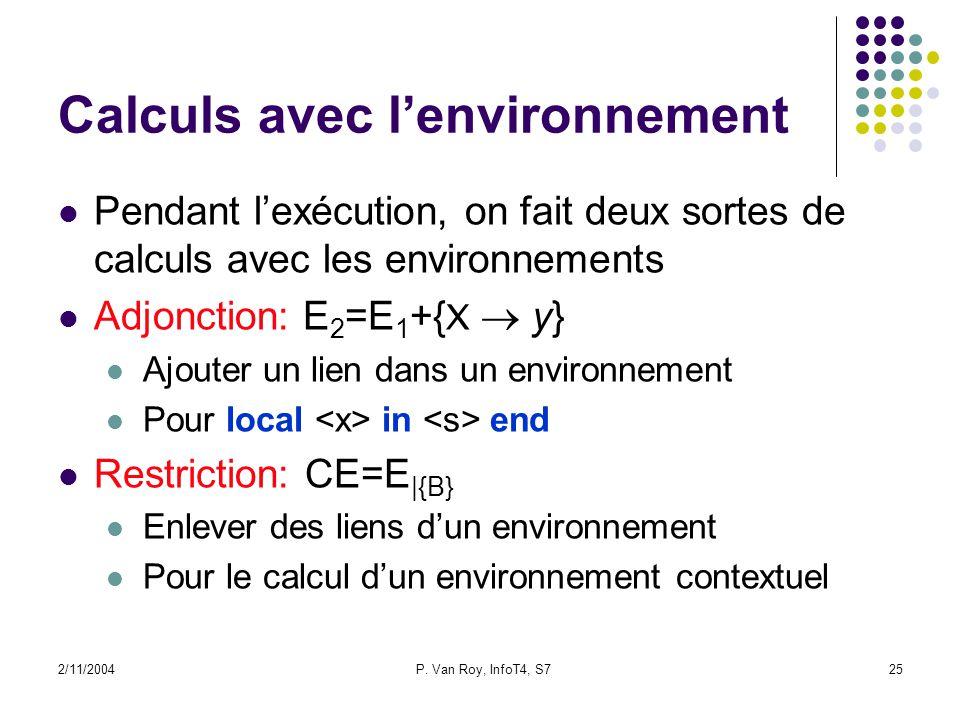 2/11/2004P. Van Roy, InfoT4, S725 Calculs avec lenvironnement Pendant lexécution, on fait deux sortes de calculs avec les environnements Adjonction: E