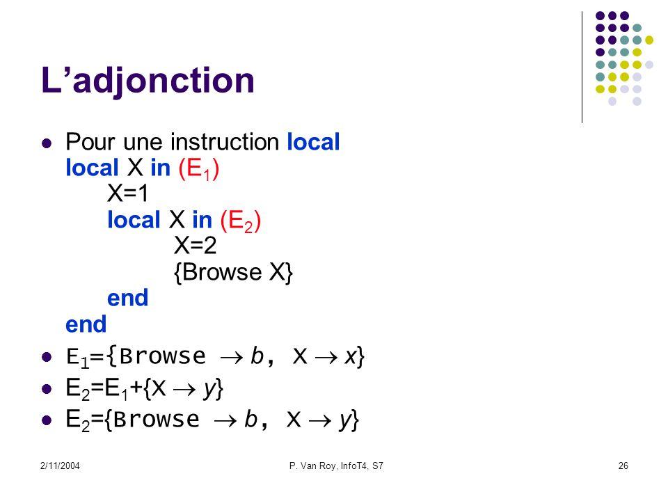 2/11/2004P. Van Roy, InfoT4, S726 Ladjonction Pour une instruction local local X in (E 1 ) X=1 local X in (E 2 ) X=2 {Browse X} end end E 1 ={Browse b