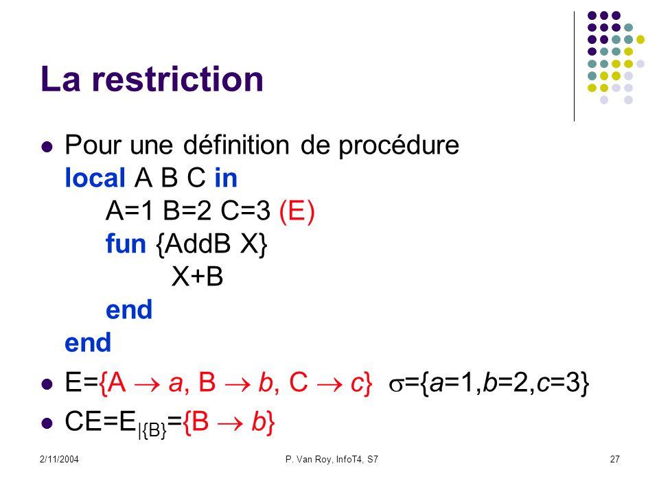 2/11/2004P. Van Roy, InfoT4, S727 La restriction Pour une définition de procédure local A B C in A=1 B=2 C=3 (E) fun {AddB X} X+B end end E={A a, B b,