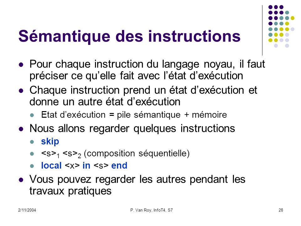 2/11/2004P. Van Roy, InfoT4, S728 Sémantique des instructions Pour chaque instruction du langage noyau, il faut préciser ce quelle fait avec létat dex