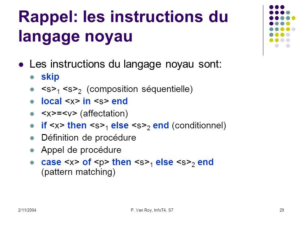 2/11/2004P. Van Roy, InfoT4, S729 Rappel: les instructions du langage noyau Les instructions du langage noyau sont: skip 1 2 (composition séquentielle