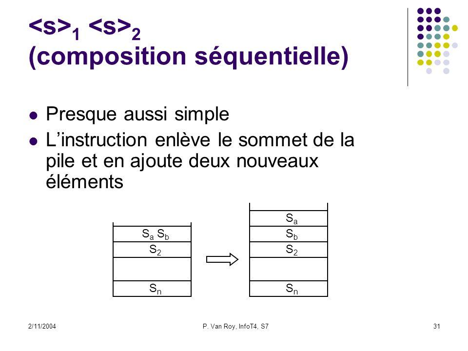 2/11/2004P. Van Roy, InfoT4, S731 1 2 (composition séquentielle) S 2 S n S 2 S n S a S b Presque aussi simple Linstruction enlève le sommet de la pile