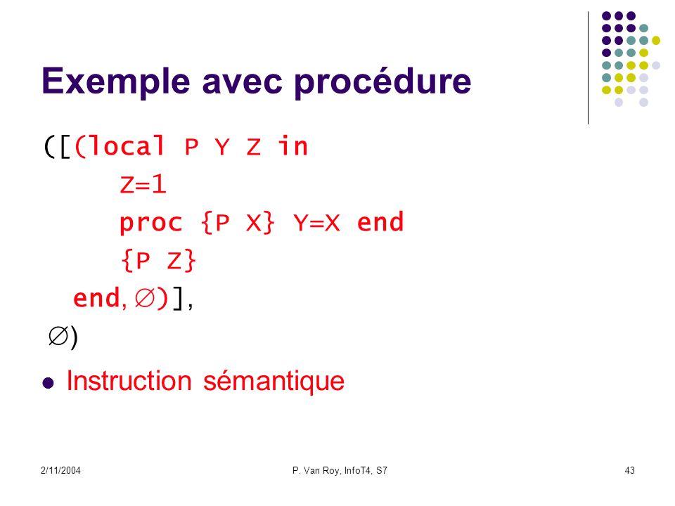 2/11/2004P. Van Roy, InfoT4, S743 Exemple avec procédure ([(local P Y Z in Z=1 proc {P X} Y=X end {P Z} end, )], ) Instruction sémantique