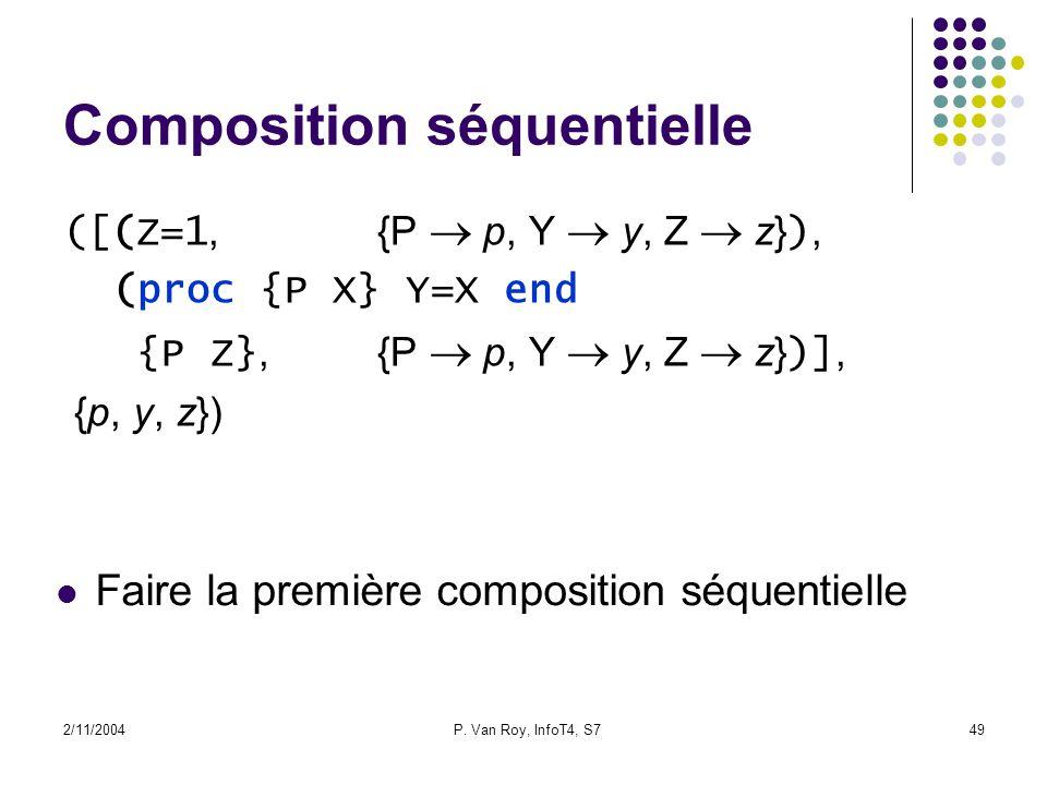 2/11/2004P. Van Roy, InfoT4, S749 Composition séquentielle ([(Z=1,{P p, Y y, Z z} ), (proc {P X} Y=X end {P Z},{P p, Y y, Z z} )], {p, y, z}) Faire la