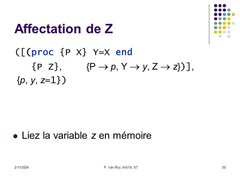 2/11/2004P. Van Roy, InfoT4, S750 Affectation de Z ([(proc {P X} Y=X end {P Z},{P p, Y y, Z z} )], {p, y, z =1}) Liez la variable z en mémoire