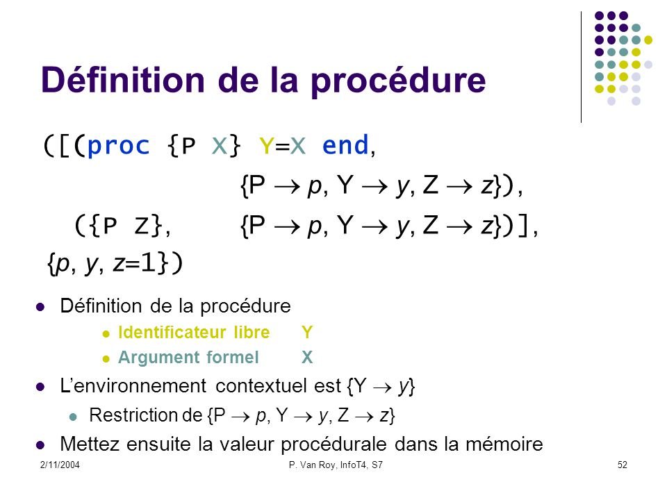 2/11/2004P. Van Roy, InfoT4, S752 Définition de la procédure ([(proc {P X} Y=X end, {P p, Y y, Z z} ), ({P Z},{P p, Y y, Z z} )], {p, y, z =1}) Défini