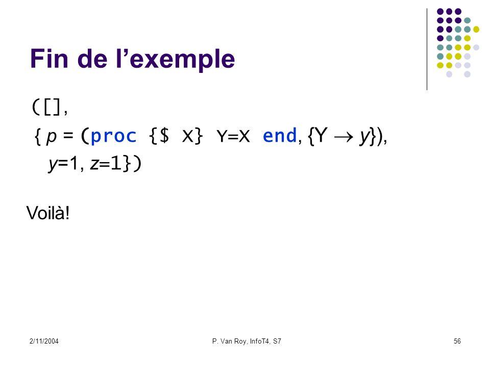 2/11/2004P. Van Roy, InfoT4, S756 Fin de lexemple ([], { p = (proc {$ X} Y=X end, {Y y}), y=1, z =1}) Voilà!