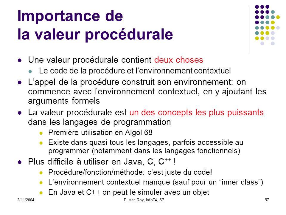 2/11/2004P. Van Roy, InfoT4, S757 Importance de la valeur procédurale Une valeur procédurale contient deux choses Le code de la procédure et lenvironn