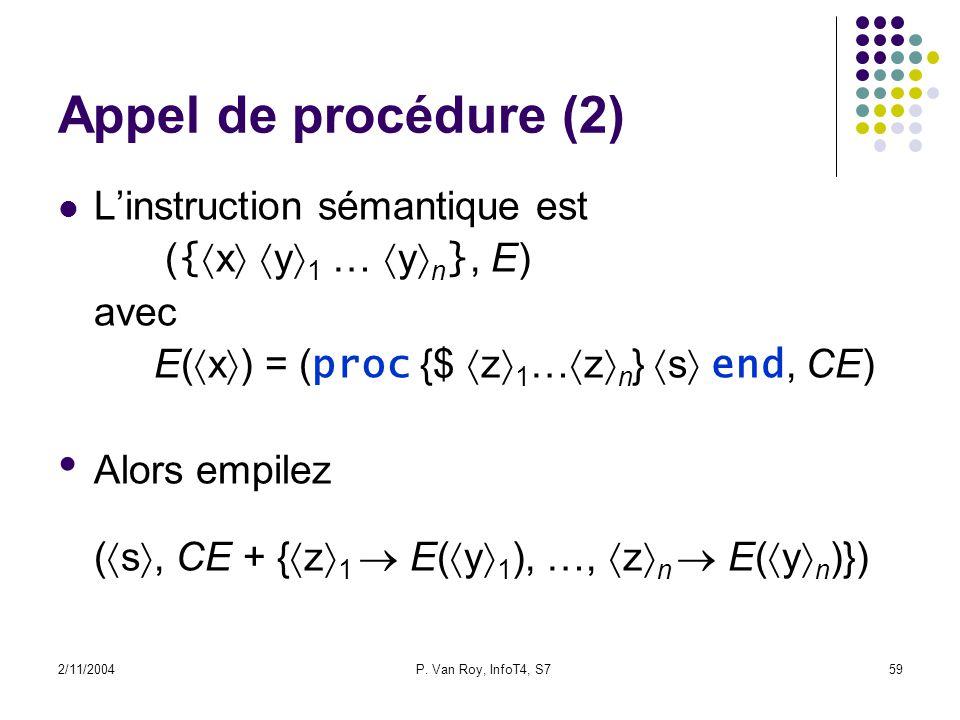 2/11/2004P. Van Roy, InfoT4, S759 Appel de procédure (2) Linstruction sémantique est ( { x y 1 … y n }, E) avec E( x ) = ( proc {$ z 1 … z n } s end,