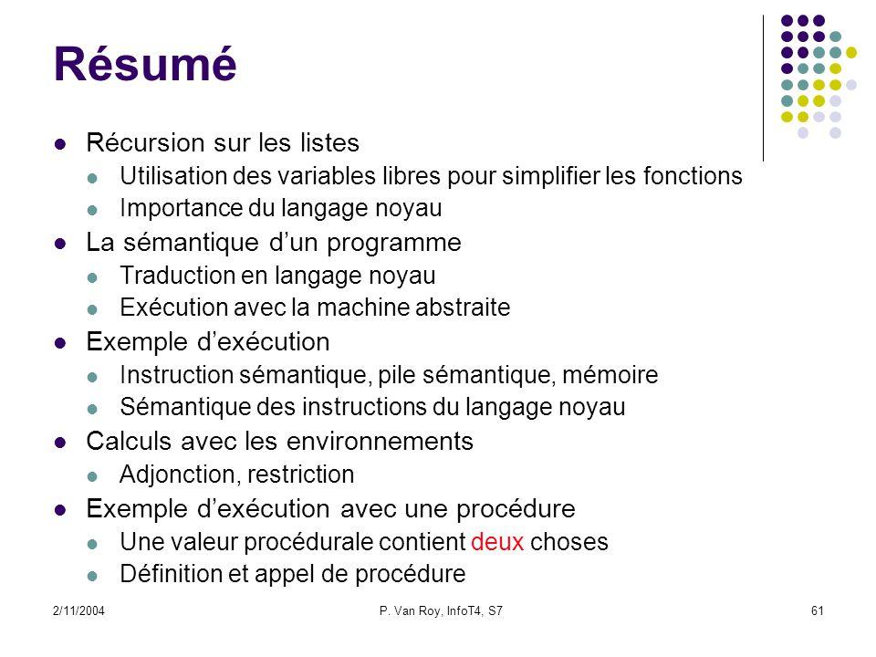 2/11/2004P. Van Roy, InfoT4, S761 Résumé Récursion sur les listes Utilisation des variables libres pour simplifier les fonctions Importance du langage