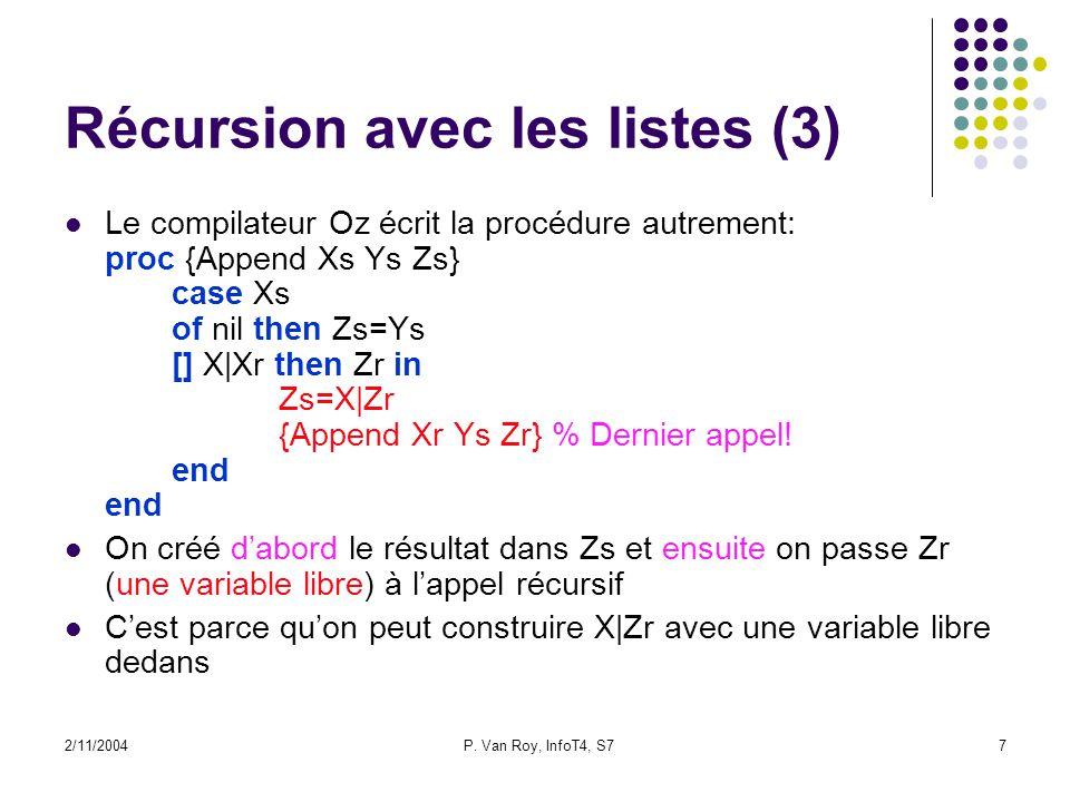 2/11/2004P. Van Roy, InfoT4, S77 Récursion avec les listes (3) Le compilateur Oz écrit la procédure autrement: proc {Append Xs Ys Zs} case Xs of nil t