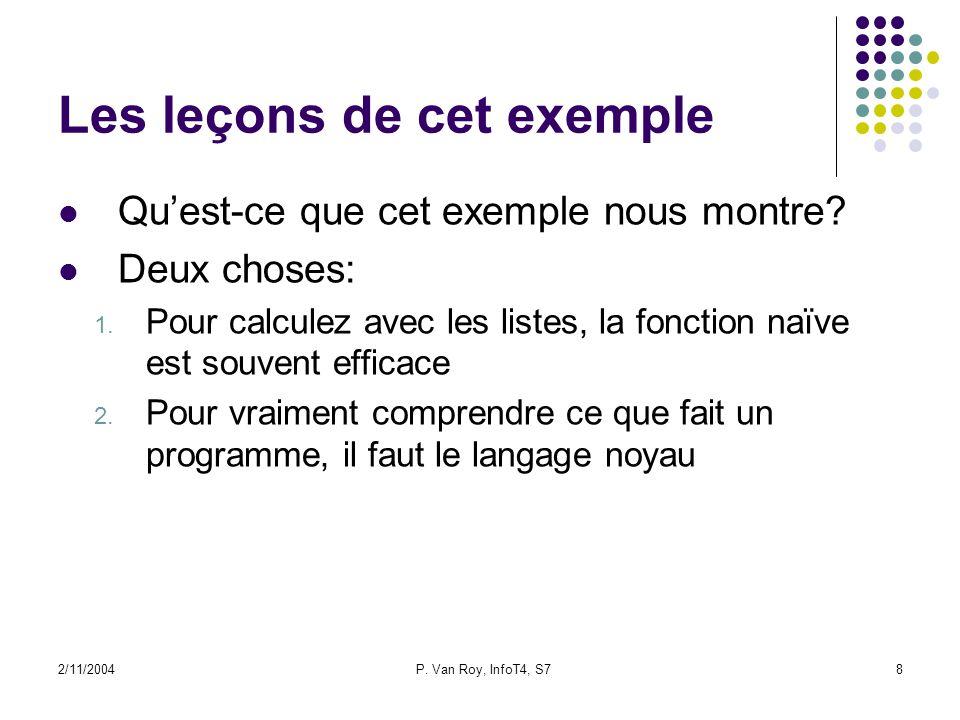 2/11/2004P. Van Roy, InfoT4, S78 Les leçons de cet exemple Quest-ce que cet exemple nous montre? Deux choses: 1. Pour calculez avec les listes, la fon