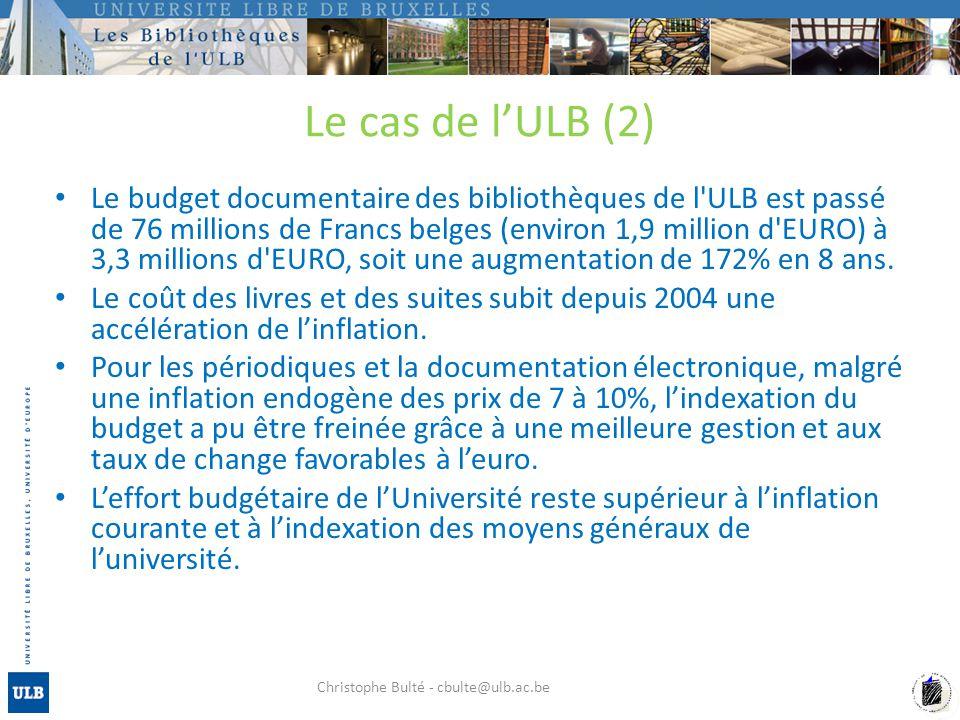 Le cas de lULB (2) Le budget documentaire des bibliothèques de l ULB est passé de 76 millions de Francs belges (environ 1,9 million d EURO) à 3,3 millions d EURO, soit une augmentation de 172% en 8 ans.