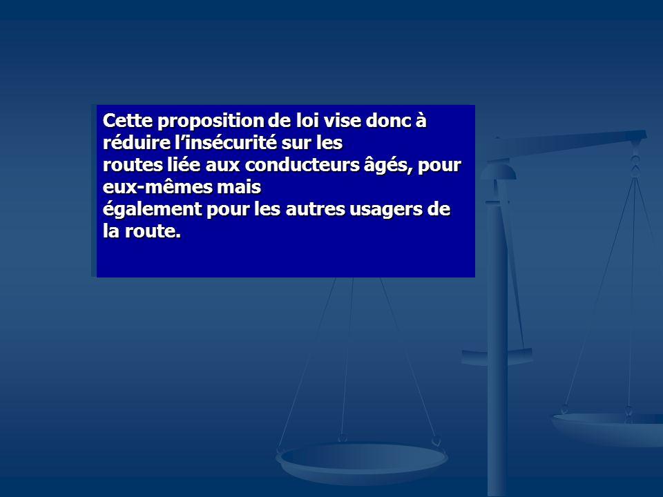 Cette proposition de loi vise donc à réduire linsécurité sur les routes liée aux conducteurs âgés, pour eux-mêmes mais également pour les autres usagers de la route.