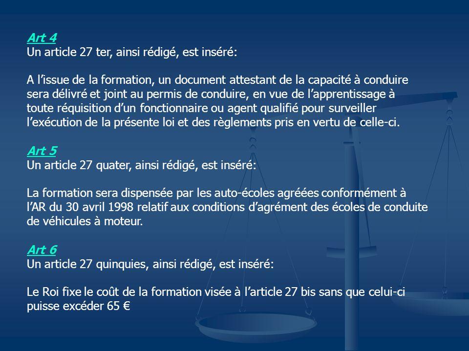 Art 7 Un article 27 sexies, ainsi rédigé, est inséré: Au cas où le document visé à larticle 27 ter ne peut être délivré, le conducteur est tenu de se présenter dans les 6 mois afin de suivre à nouveau une formation.