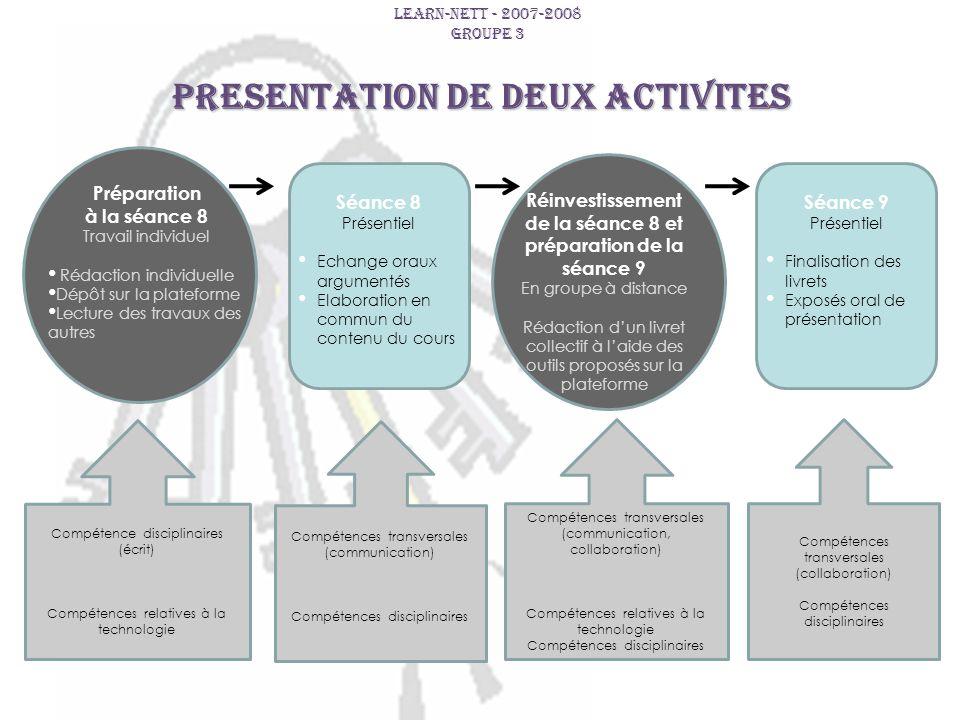 PRESENTATION DE DEUX ACTIVITES LEARN-NETT - 2007-2008 GROUPE 3 Compétence disciplinaires (écrit) Compétences relatives à la technologie Compétences tr