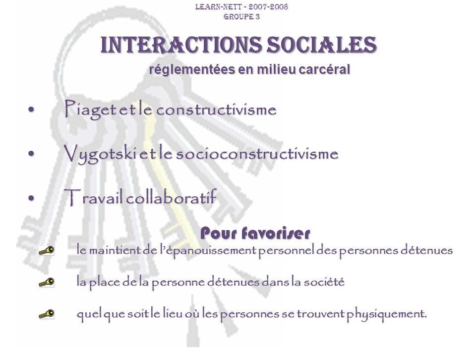 INTERACTIONS SOCIALES LEARN-NETT - 2007-2008 GROUPE 3 réglementées en milieu carcéral Piaget et le constructivismePiaget et le constructivisme Vygotsk