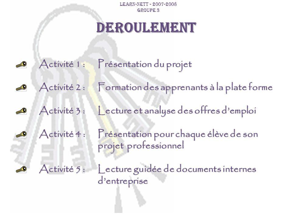 DEROULEMENT Activité 1 : Présentation du projet Activité 2 : Formation des apprenants à la plate forme Activité 3 : Lecture et analyse des offres demp
