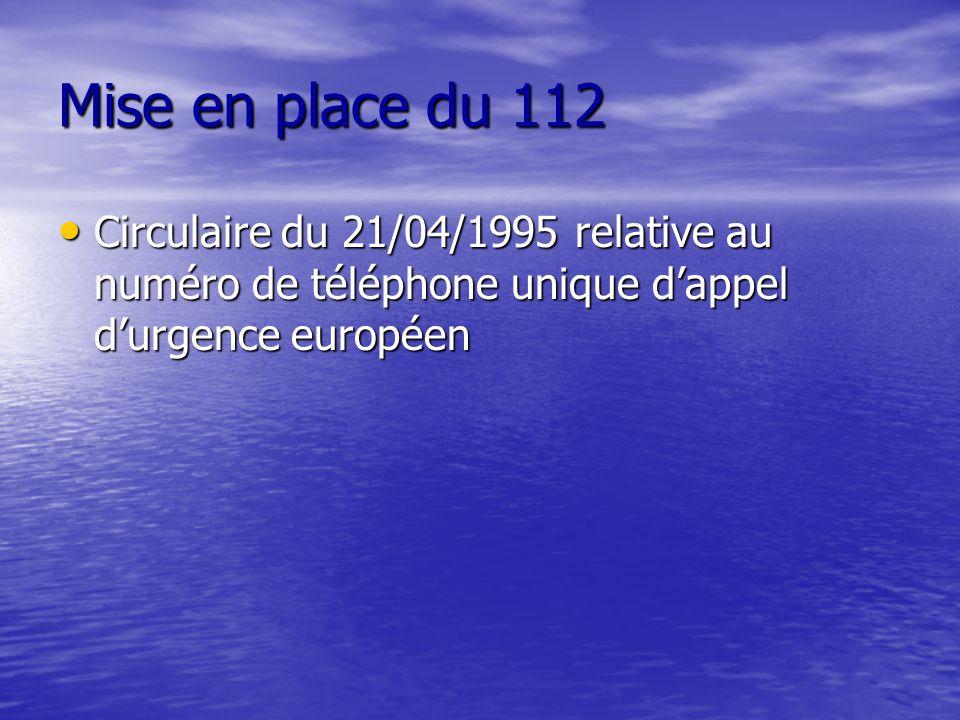 Mise en place du 112 Circulaire du 21/04/1995 relative au numéro de téléphone unique dappel durgence européen Circulaire du 21/04/1995 relative au num