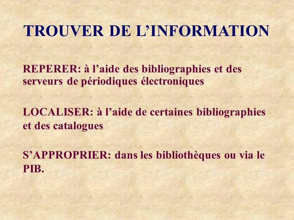 TROUVER DE LINFORMATION REPERER: à laide des bibliographies et des serveurs de périodiques électroniques LOCALISER: à laide de certaines bibliographies et des catalogues SAPPROPRIER: dans les bibliothèques ou via le PIB.