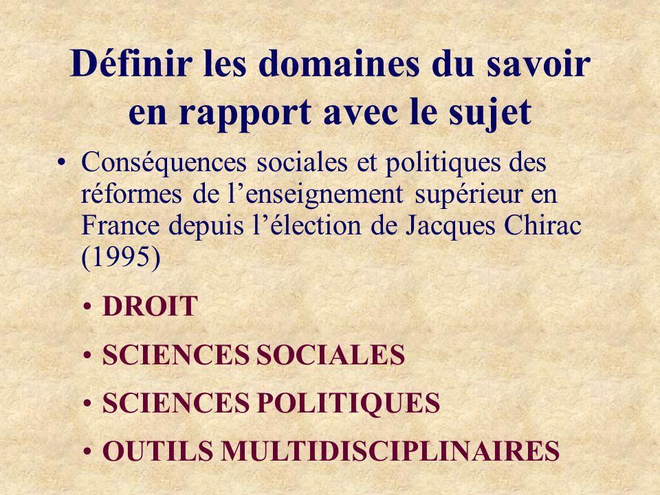 Définir les domaines du savoir en rapport avec le sujet Conséquences sociales et politiques des réformes de lenseignement supérieur en France depuis lélection de Jacques Chirac (1995) DROIT SCIENCES SOCIALES SCIENCES POLITIQUES OUTILS MULTIDISCIPLINAIRES