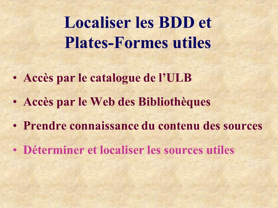 Localiser les BDD et Plates-Formes utiles Accès par le catalogue de lULB Accès par le Web des Bibliothèques Prendre connaissance du contenu des sources Déterminer et localiser les sources utiles