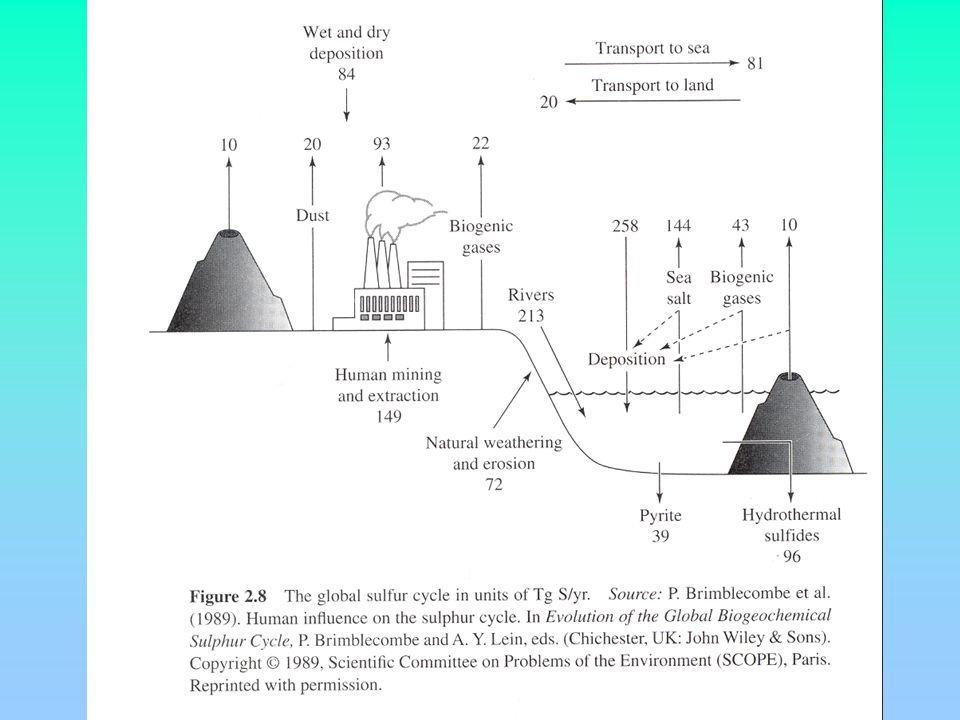 Emissions naturelles terrestres : H 2 S océaniques : CH 3 S CH 3 oxydés en SO 2 En quelques jours, ces molécules dacide sulfurique passent sous forme particulaire - par condensation sur particules existantes - coalescence avec eau pour former des gouttelettes H 2 O - H 2 SO 4